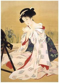 鏑木清方  ( Kaburagi Kiyokata, 1878 – 1972 ) 初夏の化粧: