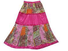 Womens Long Skirt Vintage Patchwork Pink Cotton Gypsy Indian Skirts Mogul Interior http://www.amazon.com/dp/B00W3ATTKM/ref=cm_sw_r_pi_dp_gtiovb1EW61GH