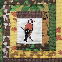 Goldfinch log cabin patchwork quilt block. Hand-quilted. All fabrics original designs by Sea Parrot. www.seaparrot.co.uk Log Cabin Patchwork, Patchwork Fabric, Fabric Shop, Hand Quilting, Quilt Blocks, Parrot, Fabric Design, Applique, Kids Rugs