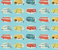 Retro Travel in Bright Aqua Fabric