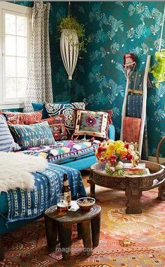 Outstanding ⋴⍕ Boho Decor Bliss ⍕⋼ bright gypsy color & hippie bohemian mixed pattern home decorating ideas – Layered African indigo textiles with vintage Peruvian and kilim pill ..