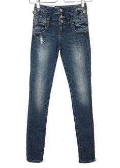 - medium wash fading and whiskering through thighs - high rise - front pockets and visible button fly - stretch - 98% cotton and 2% spandex - imported