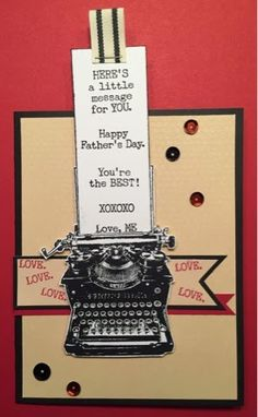 Card Making Inspiration, Making Ideas, Birthday Cards For Men, Male Birthday, Retro Typewriter, Friendship Cards, Fathers Day Cards, Card Patterns, Heart Cards