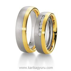 Fehér és sárga arany karikagyűrű pár. A női gyűrűt 6 db összesen 0,15ct G/ vs minősítésű brilliáns csiszolású gyémántot foglaltunk. Készülhet 14 és 18 karátos aranyból is. www.karikagyuru.com