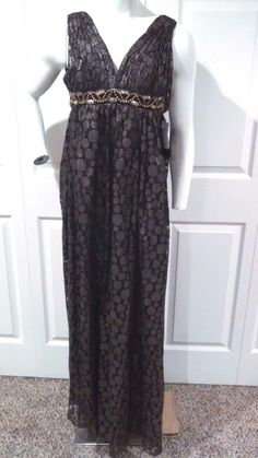 7e672fac5d9c House Of Dereon Dress Size 0 Full Length Black Bronze Metal Beads Padded  Chest