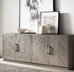Check out this image Living Room Grey, Living Room Decor, Restoration Hardware Store, Dark Bedroom Walls, Sideboard Cabinet, Credenza, Diy Dining Table, Decoration, French Chateau