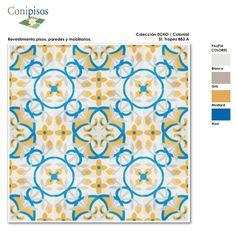 #tiledesign #tiles #handmade #mosaic #art #conipisos #piso #hidraulico #nicaragua #cementtiles #colorful #baldosa hidraulica #azulejos Office Supplies, Rugs, Design, Home Decor, Wall, Brick, Tiles, Tiles, Mosaics