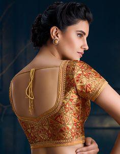back blouse image Brocade Blouse Designs, Saree Blouse Neck Designs, Simple Blouse Designs, Stylish Blouse Design, Saree Blouse Patterns, Bridal Blouse Designs, Lehenga Blouse, Gold Blouse, The Ordinary