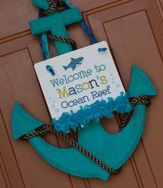 Super cute Under the Sea party ideas- DIY door decoration. Under The Sea Theme, Under The Sea Party, 1st Birthday Parties, Boy Birthday, Birthday Ideas, Birthday Door, Happy Birthday, Ocean Party, Water Party