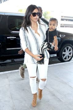 Kim Kardashian and North West on Sept. 1, 2014, in Los Angeles. Getty