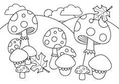 Coloriage de champignons pour les enfants