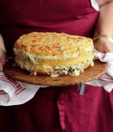 Lidia Bastianich's cheesy polenta torta is everything we want to eat this time of year Fit for a crowd and just as tasty the next day — leave it to the Queen of Italian Cuisine to bring us a cold weather comfort food favourite. Lidia's Recipes, Polenta Recipes, Italian Recipes, Vegetarian Recipes, Cooking Recipes, Italian Cooking, Recipies, Party Recipes, Recipes Dinner