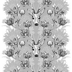 Metsänhenki grey by Saara Eklund - Vallila Interior Ikea Fabric, Nordic Design, Marimekko, Textures Patterns, Ceiling Lights, Curtains, Pillows, Wallpaper, Grey