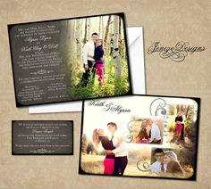 Wedding Invitation Photoshop Template for Photographers por Jeneze, $10.00
