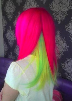 double layer neon hair.  want to do this to somebody!