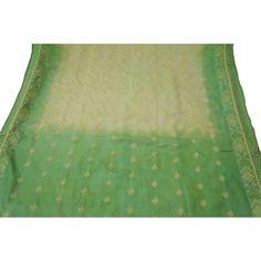 Vintage Indian Saree Pure Silk Woven Fabric Women Décor Craft Sarong Beige Sari
