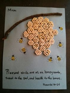 "Homeschool art project for Proverbs KJV ""Pleasant words are as an honeycomb, sweet to the soul, and health to the bones."" health activities health care health ideas health tips healthy meals Bible Story Crafts, Bible Crafts For Kids, Preschool Bible, Bible Lessons For Kids, Bible Activities, Preschool Crafts, Health Activities, Kids Bible, Sunday School Activities"