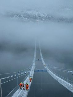 A friend of mine is building a bridge in Norway.. Winter has arrived - Imgur