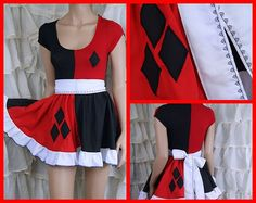 Harley Quinn Black Red Diamonds Apron Ruffle Dress by mtcoffinz, $80.00