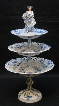 Gorgeous German Meissen Porcelain Blue Onion Figural Cake Stand - circa Catch me before I faint.