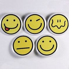 Smiley Faces Set Of 5 Buttons Pinbacks Badges 1 by theangryrobot