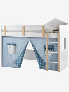 Turn the Everest high bed into a hut with this decorative curtain so your child can have his own special place! SIZEwidth 190 x height 100 cm WHAT YOU NEED TO KNOW Pure cotton canvas fabric with star prin Loft Bed Curtains, Bunk Bed Tent, Teepee Play Tent, Cute Curtains, Bunk Beds, Ideas Habitaciones, Cot Blankets, High Beds, Kura Bed