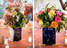 Constellations as table names - cute idea! Romantic DIY Catskills NY Wedding | mywedding.com