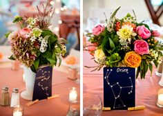 Constellations as table names - cute idea! Romantic DIY Catskills NY Wedding | mywedding.com