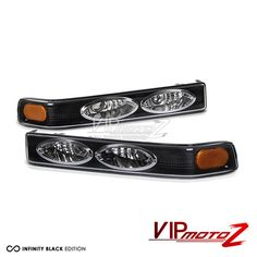 Chevrolet Blazer 1998-2003 Black W/ Amber Reflector Front Bumper Lights Set #VIPMOTOZ