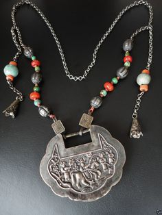 Sterling Silver 18 inch China Map Pendant with Red and Yellow Beads