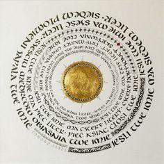 """B.Wilinska. """"Jeśli twe imię ma jedną literę…""""  Edmond  Jabès """"Księga pytań"""". Tusz i złoto na papierze. 29 x 29 cm. 2011."""
