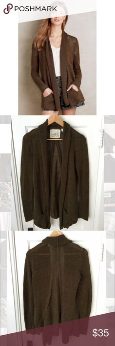 """Angel of the North Cascade Cardigan Dark Green M Angel of the North for Anthropologie Cascade Cardigan in dark green. Size small. Linen/cotton/viscose blend. 26.5"""" long. Pockets at the waist 💕 Anthropologie Sweaters Cardigans"""