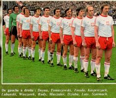Poland line up for their World Cup qualifier vs Denmark in 1977