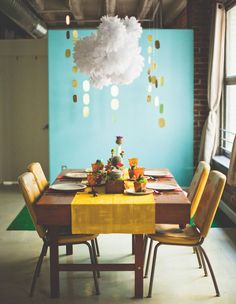 """Who knew you could pull off a Super Mario Bros. themed wedding in such a classy way?!  LOVE the cloud & coins table """"chandeliers"""". -- birthday party decore"""