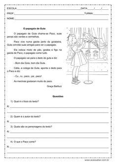 atividade de interpretação de texto: O papagaio de Guta - 1º ou 2º ano