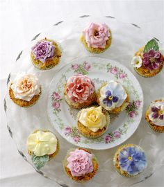 """~ fairy cakes ~  """"Flowers add romantic history to our food. They lend a charming, healthy, and unusual dimension to our tables. During Queen Victoria's reign there was a Primrose Day. A fanciful recipe for fairy cups called for a peck of flowers pounded with ladyfingers, three pints of cream, sixteen eggs and a little rosewater, buttered and baked with sugar on top."""""""