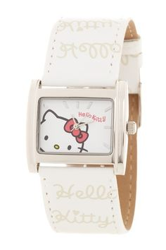 Hello Kitty by Simmons Jewelry Co. Women's White Hello Kitty Printed Watch