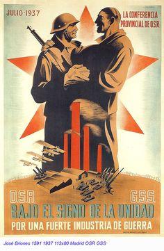 """Spain, 1937. Civil War poster; author: Jose Briones.""""Julio de 1937. Bajo el signo de la unidad por una fuerte industria de guerra."""""""