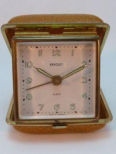Vintage Bradley Travel Alarm Clock Mid-Century Germany Works Fine