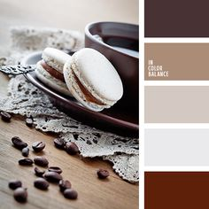 The color palette №1640 Gamma chocolate and coffee shades of brown complemented by gray-lilac and icy-gray tones.