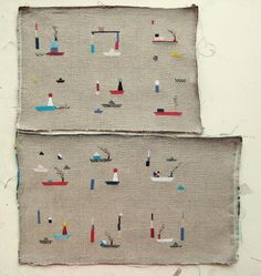 Love this gal's needlework. These became pincushions in the end. http://www.at-swim-two-birds.blogspot.com/