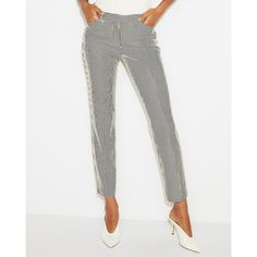 Express Mid Rise Striped Knit Columnist Ankle Pant (76 CHF) ❤ liked on Polyvore featuring pants, black and white, stretch pants, zipper pocket pants, ankle length jeans, ankle length pants and ankle pants