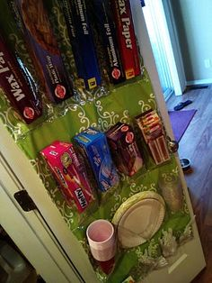 Will you just look at how cute!  I'm an organizing freak.  I'm repinning from a lovely former student:  pantry organizer using a shoe door hanger.