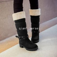 Women Snow Boots Mid Calf Boots Faux Suede Winter Warm Block Low Heels Shoes