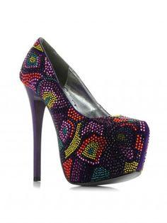 """Harper"" Platform Pump By Bettie Page™ Shoes (Purple)"