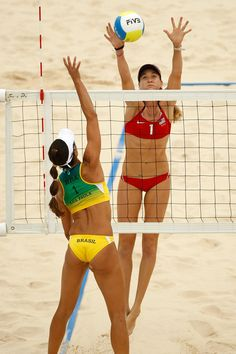 Olympics - Beach Volleyball! Misty May and Kerri, I love them! I wish I was tall enough to do that :(