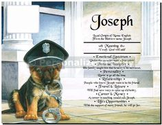 German Shepherd Canine Officer Police Dog With Handcuffs First Name Meaning (One Name Personalized) Unique Gift For Man or Woman Boy or Girl Interested in Police Work or K-9 Public Servant Dog Officers