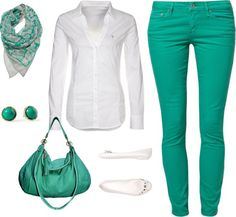 """Teal and White"" by sculp0401 ❤ liked on Polyvore"