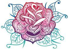 Rose - Mandala Glitter Temporary Tattoo
