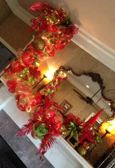 Red and Lime Christmas Mantle Decorations!